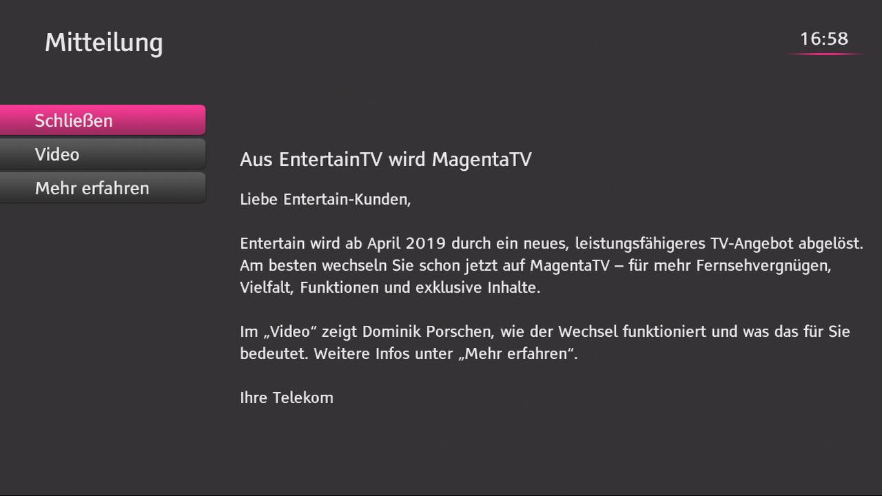Hinweismeldung Zur Ablösung Der Alten Entertain Plattform Iptvblog