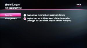 Einstellungsdialog für den HD Kopierschutz