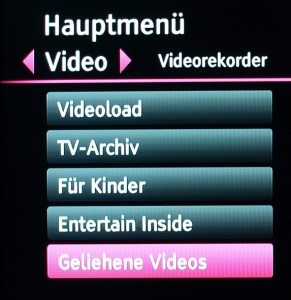 Menüpunkt Video