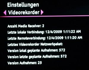 """Menüpunkt """"Systemstatus-Videorekorder"""""""